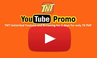 TNT Unlimited Youtube and Browsing for 3 days for only 70 PHP