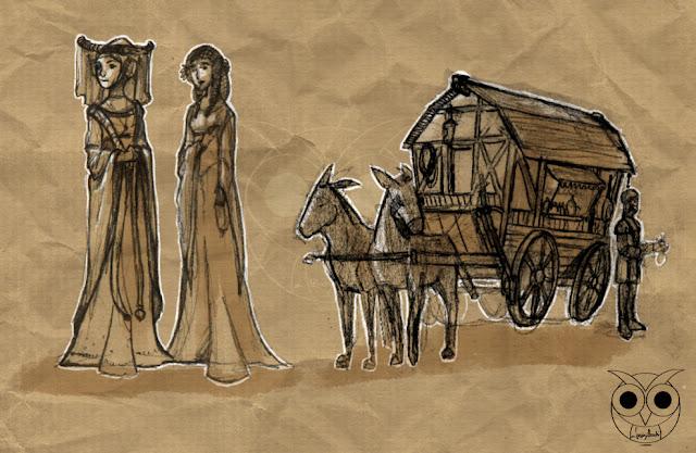 dama-ancella-speziale-medioevo-LucyOwlArt-LuciaAlocchiArt