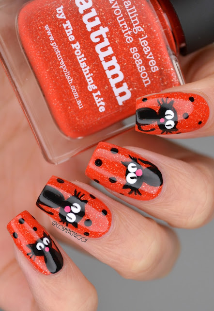 halloween black cat nail art