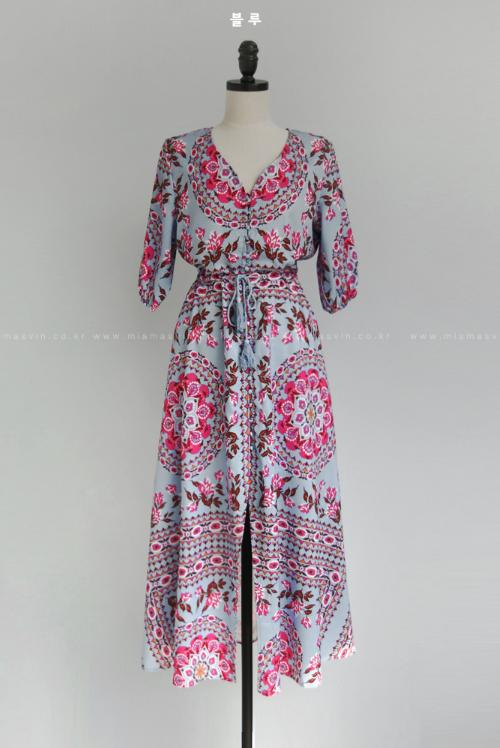Button-Front Patterned V-Neck Dress