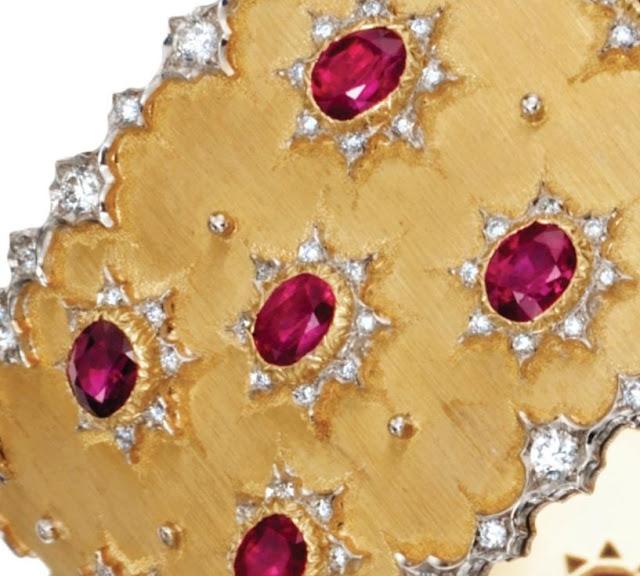 Buccellati gold, ruby, and diamond bracelet, rubies, diamonds, gold, bracelet, cuff, bangle, bridal, wedding, bride