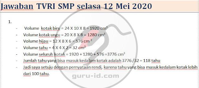 gambar Jawaban tvri smp 12 mei 2020