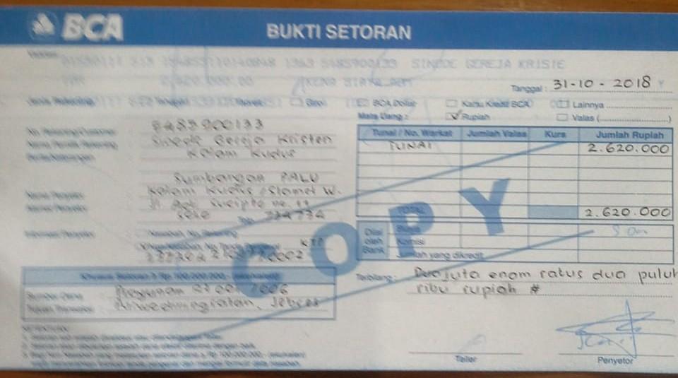 Dukungan Dana SKKK Surakarta untuk Palu Sudah Tersalur