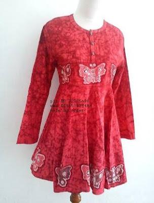 Gaun atasan batik wanita modern