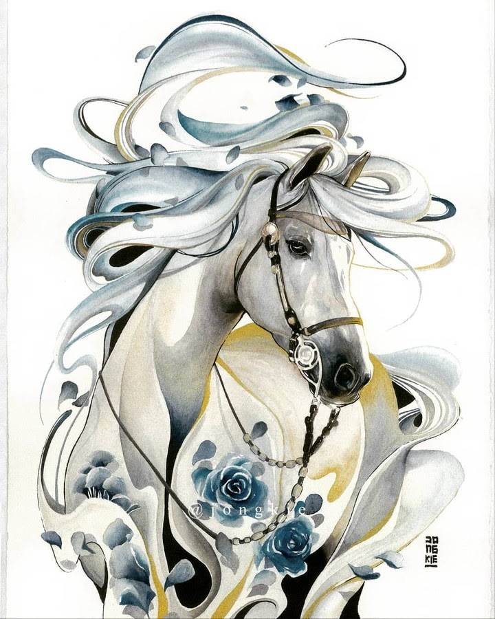 12-Golden-Mist-Horse-LR-Mulyono-Watercolor-Paintings-www-designstack-co