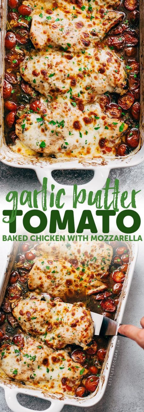 GARLIC BUTTER TOMATO BAKED CHICKEN WITH MOZZARELLA #garlic #butter #tomato #baked #chicken #mozzarella