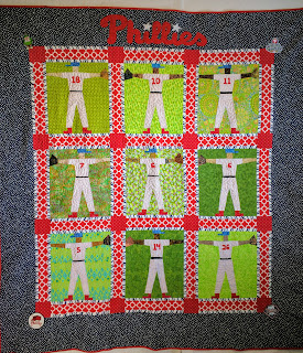 Stick figure quilt of Phillies baseball players