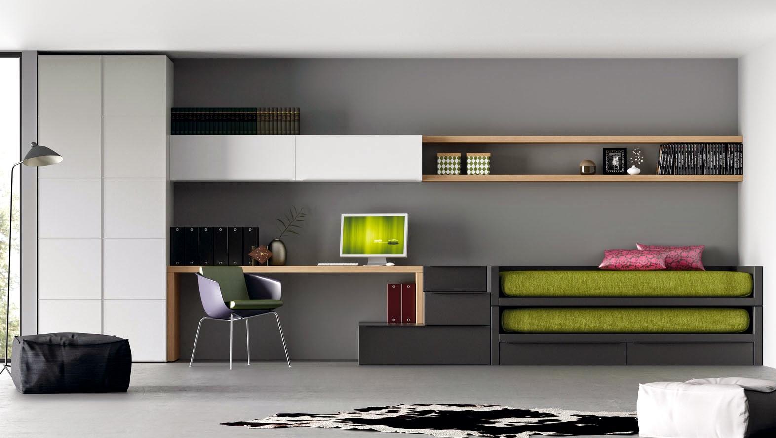 Dormitorio juvenil con cama compacto gris