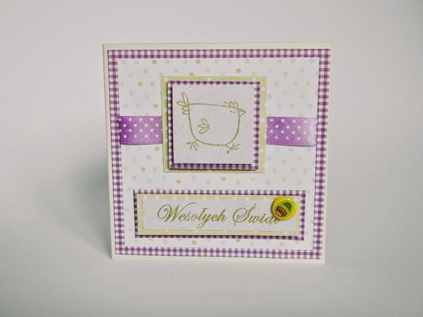 Ręcznie robiona kartka z kurką na Wielkanoc