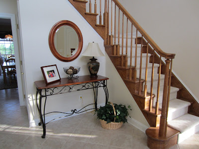 foyer table and staircase