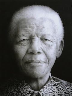 Painting of Nelson Mandela by Paul Emsley. Detailed description can be found in caption.