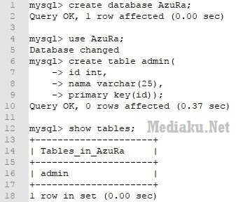Fungsi Create Database MySQL