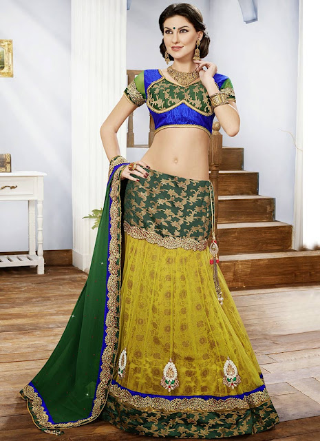 Refreshing Green Net A Line Lehenga Choli