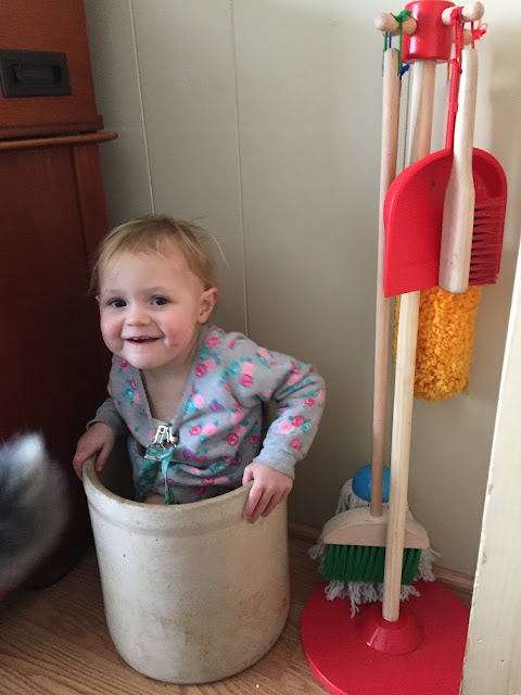 We use these crocks for toy bins in the living room. Sometimes, Rina likes  to take all her toys out and sit in them. She absolutely loves her cleaning  set ...