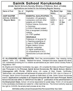 Sainik School Korukonda AP Recruitment 2018