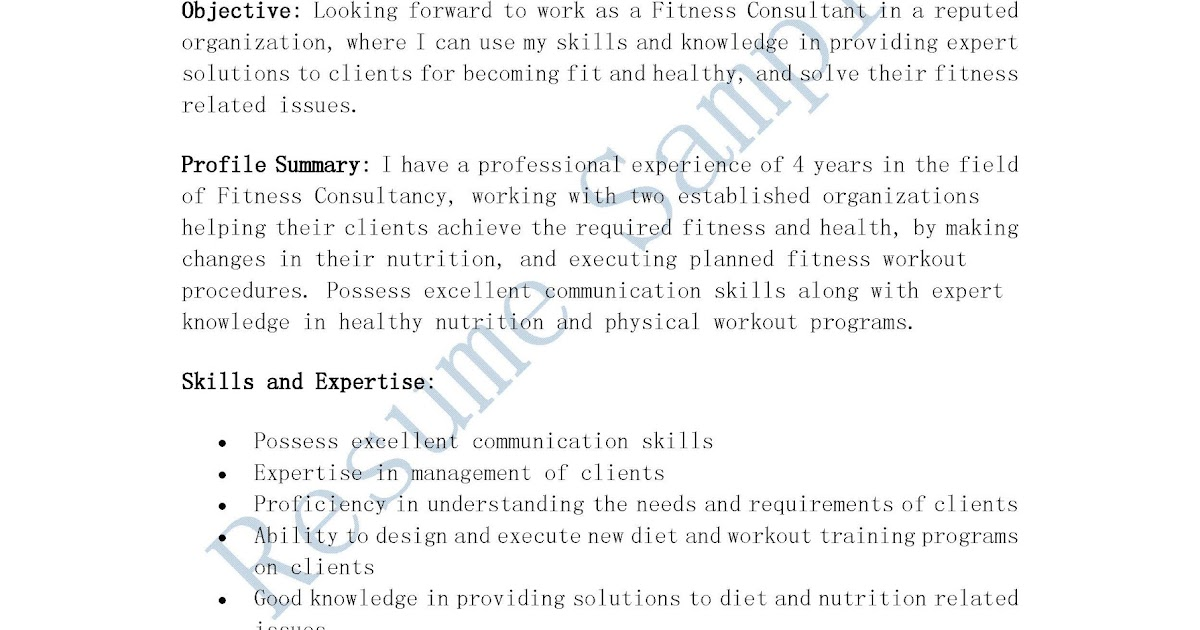 Resume Samples Fitness Consultant Resume - Fitness Consultant Resume
