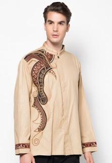 Baju batik muslim bordir lengan panjang