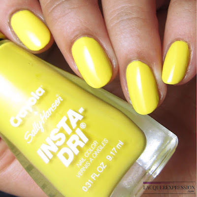 swatches and review of Sally Hansen + Crayola Dandelion nail polish