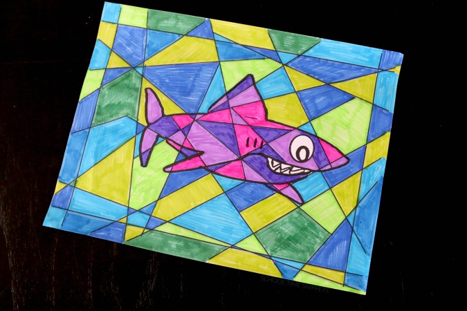 stained glass shark coloring printable