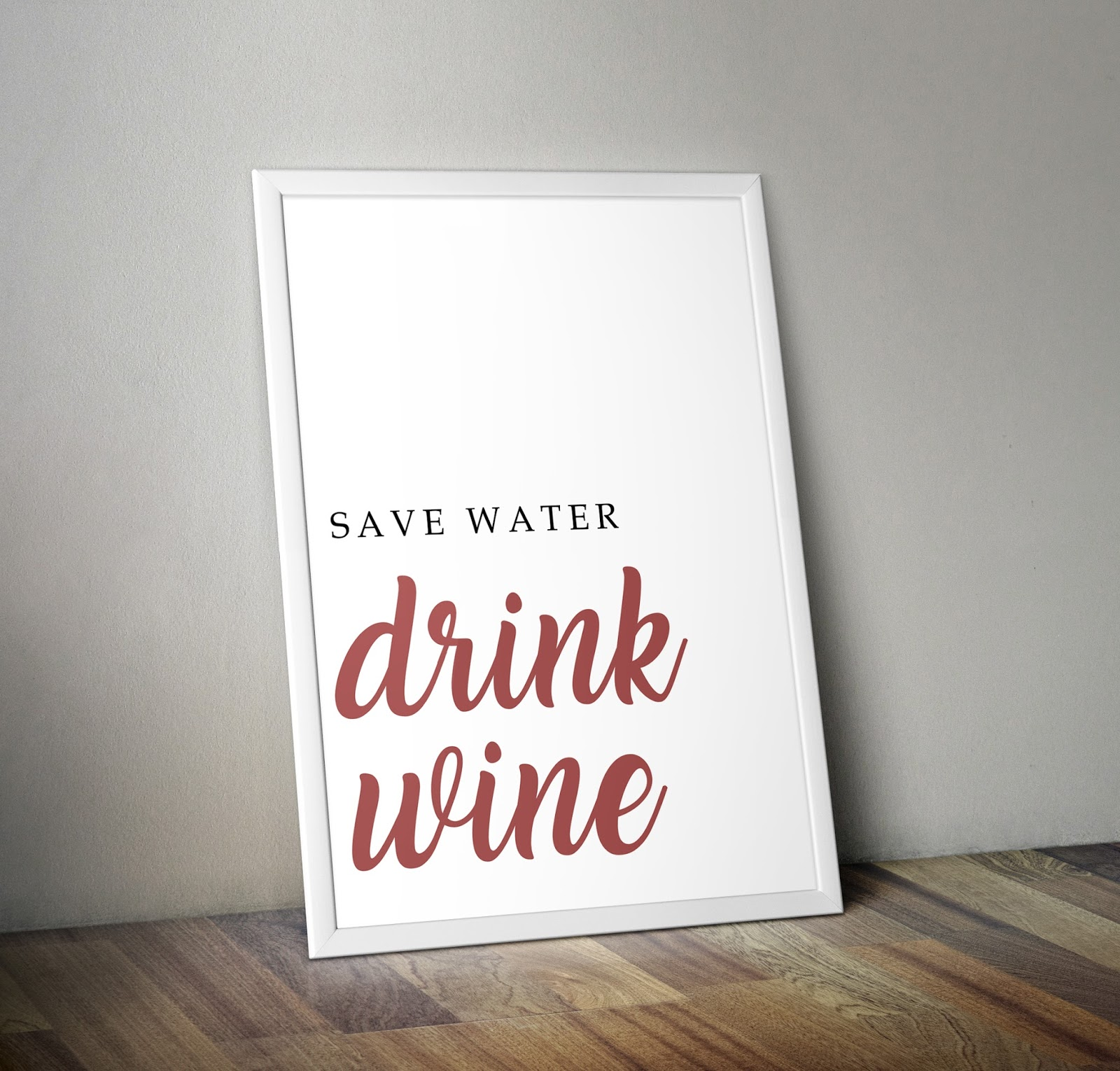 blog lifestyle, darmowy plakat, grafika do druku, darmowa grafika, printable poster, free printable poster, free wall art, download wall art, save water drink champagne, thedailywonders, najlepszy blog lifestyle