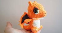 personaje charmander amigurumi de canal crochet