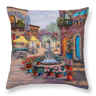 Tuscan Home Throw Pillow with Flower Garden courtyard Fountain Colorful