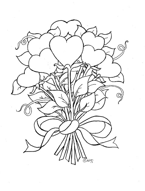 Free Printable Coloring Picture This Picture Is Perfect For Valentines  Day Or Mothers Day It Is Bouquet Of Flowers But They Are Sha