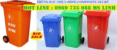 0969735088 Chuyên sỉ lẻ thùng rác 120L, xe rác 660L giá rẻ