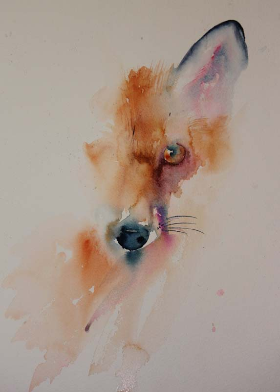 """Watercolours With Life: """"Am I Safe Yet"""" Fox in Watercolour"""