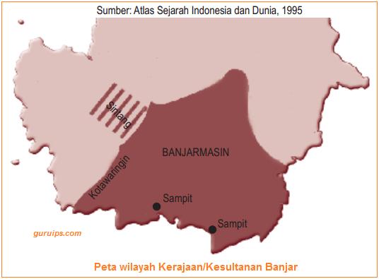Peta wilayah Kerajaan-Kesultanan Banjar