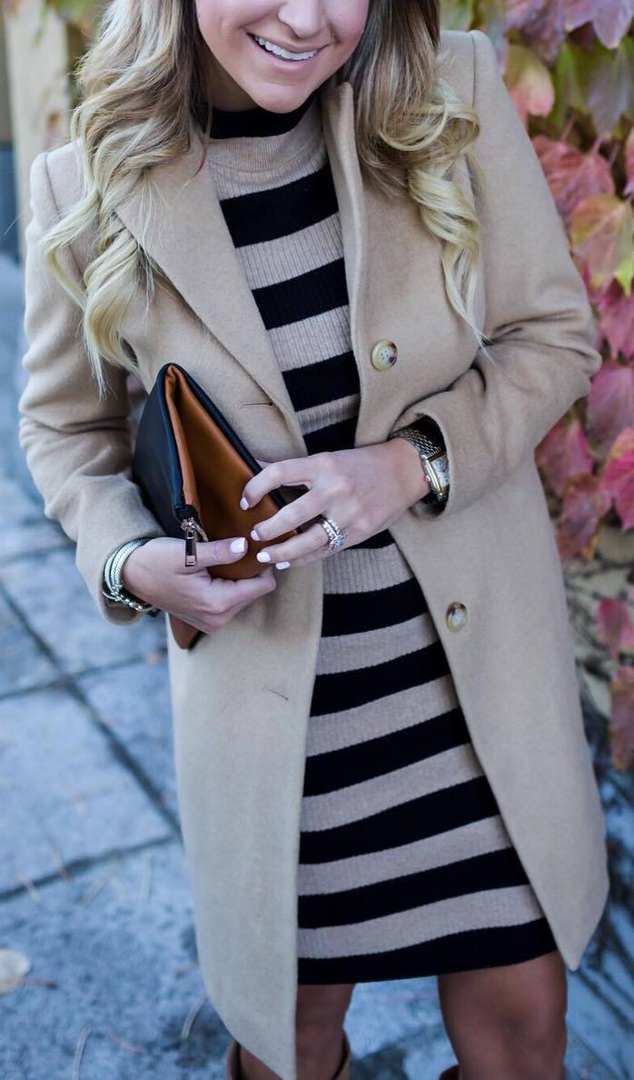 beautiful winter outfit idea / stripped dress + bag + nude coat + high boots