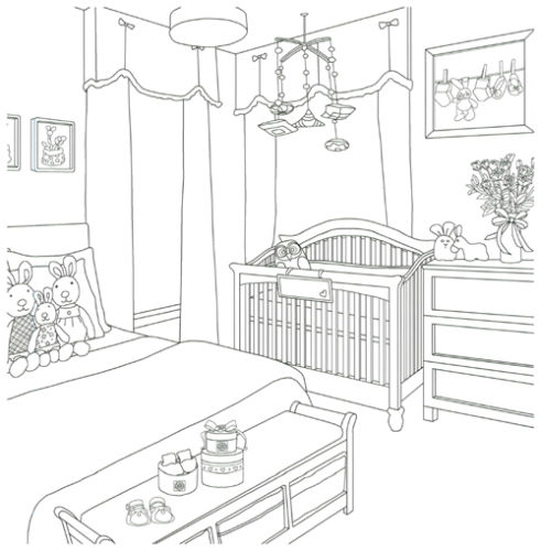 Lovely House Interior Kids Room Coloring Book For Children Painting Drawing