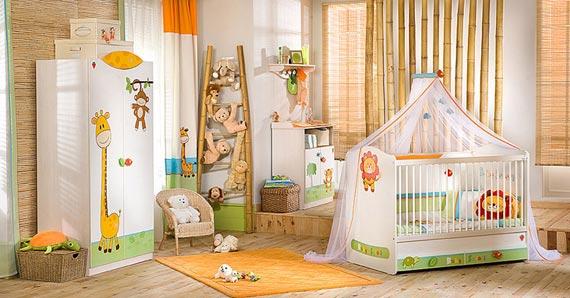 décoration chambre bebe theme jungle