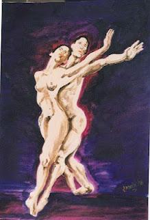 Bailarines oleo sobre carton autor Jorge Marín