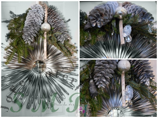 A Large wired silver art mirror decorated and used as Winter Wreath