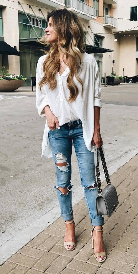 street style outfit shirt + rips + bag