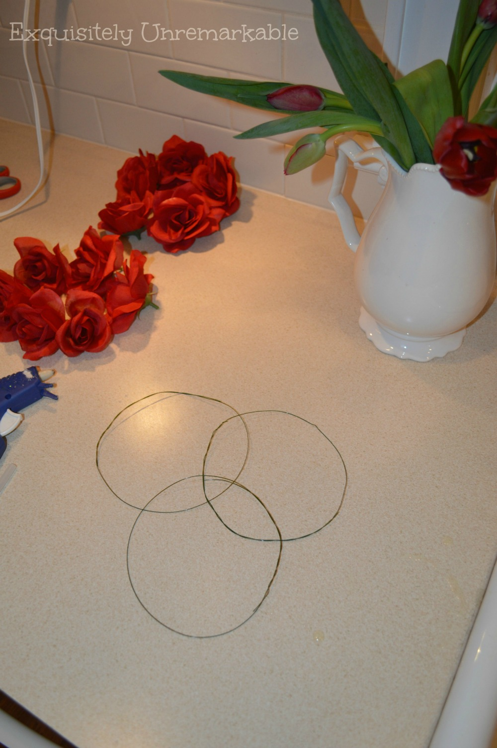 Supplies to make DIY floral candle rings