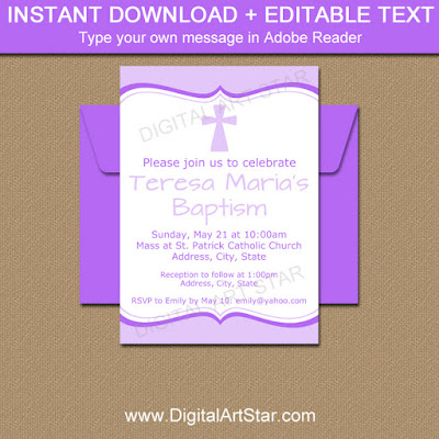 lavender Baptism invitation download with purple accents