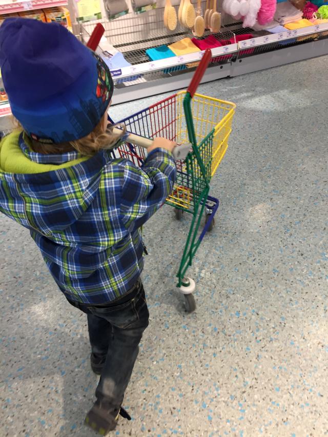 Zwuggel mit Einkaufswagen