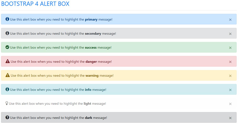 Bootstrap 4 Alert Box