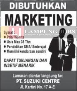 Lowongan Kerja Lampung Junii 2018 di PT. Suzuki Centre Terbaru