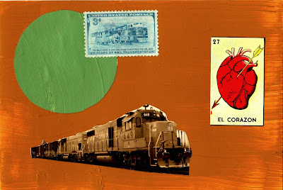 train stamp vintage train photo mexican lottery El corazon heart flag fluxus Dada collage