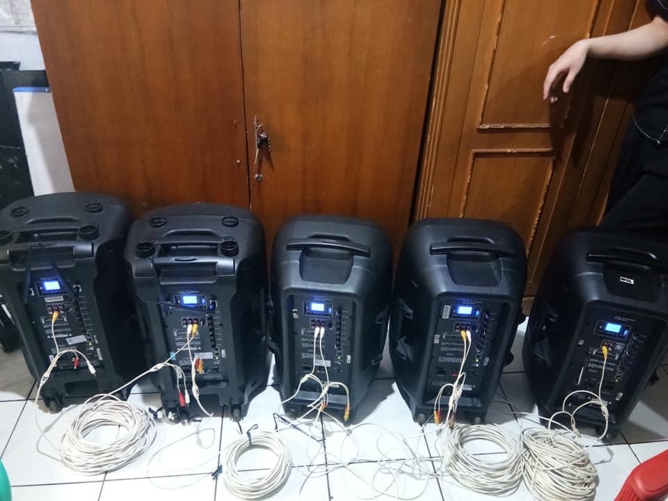 Sewa Mixer Sound System dan paket 1000 watt dan speaker dengan accu / aki / baterai