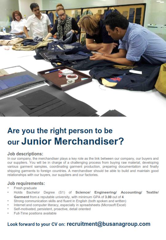 Lowongan Kerja PT. Ungaran Sari Garments Posisi Junior Merchandiser Mei 2016