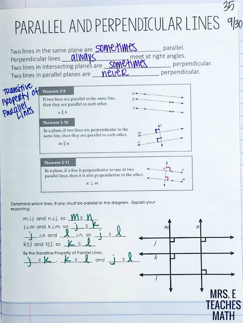 Parallel and Perpendicular Lines Theorems Notes for Interactive Notebooks in Geometry