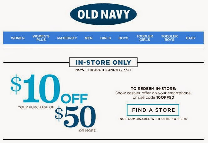 old navy coupon store