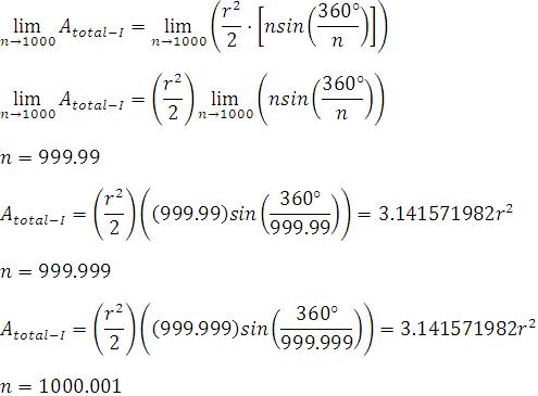 área de un polígono regular inscrito usando la definición informal de límites