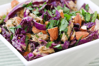 Red Cabbage and Chicken Asian Salad Recipe with Tangy Cilantro Dressing  found on KalynsKitchen.com