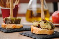 Pimiento verde relleno de tortilla de patatas