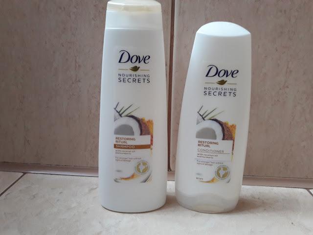 Dove Restoring Ritual szampon i odżywka do włosów do włosów z olejem kokosowym i kurkumą